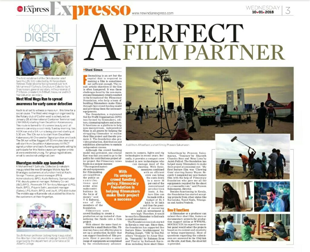 Article on Filmocracy in Indian Express